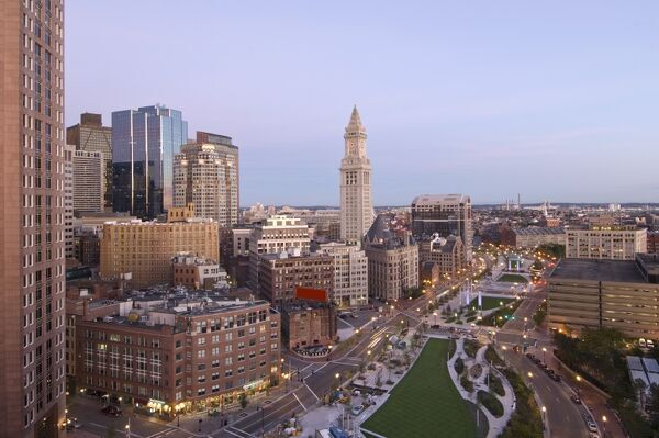 Atlantic Avenue & Customs House, Boston, Massachusetts, USA Atlantic Avenue & Customs House, Boston, Massachusetts, USA Looking down Atlantic Avenue at dawn, the historic Customs House rises over the new 'greenways' that have replace