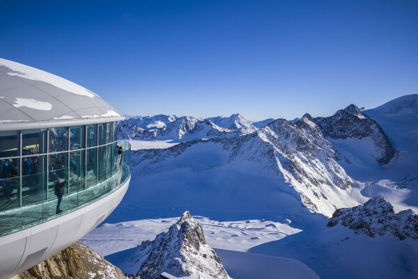 Austria, Tyrol, Pitztal, Mittelberg, Pitztal Glacier ski area, Hinterer Brunnenkogel Mountain, elevation 3440 meters, Cafe 3440, highest cafe in the Tyrol, winter