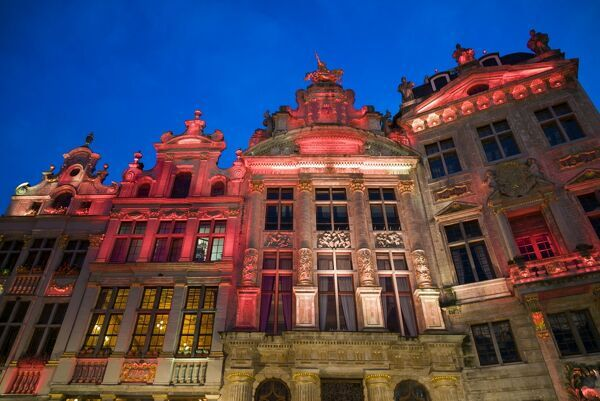Belgium, Brussels, Grand Place, evening illumination of the Guild Halls