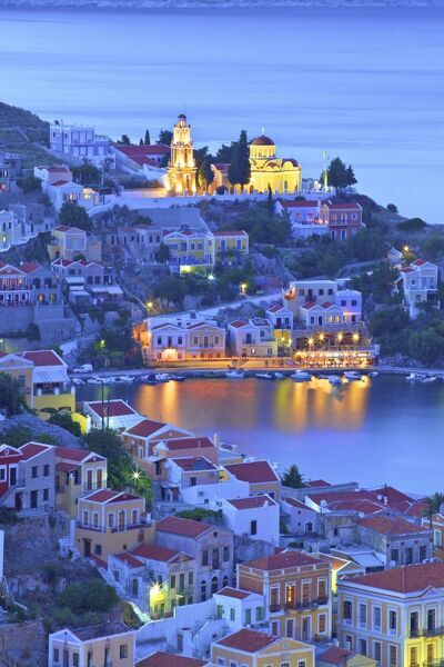 Boats In Symi Harbour From Elevated Angle At Dusk, Symi, Dodecanese, Greek Islands, Greece, Europe