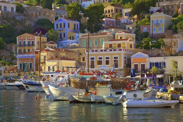 Boats In Symi Harbour, Symi, Dodecanese, Greek Islands, Greece, Europe