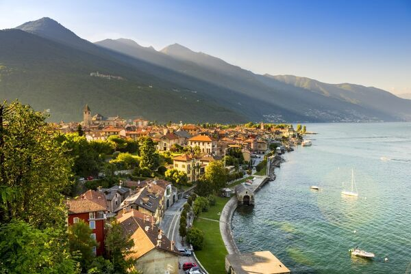 Cannobio, Verbano-Cusio-Ossola, Lake Maggiore, Piedmont, Italy. High angle view over the old town at sunset