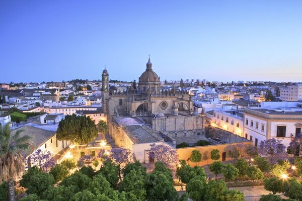 The Cathedral of San Salvador at Dawn, Jerez de la Frontera, Cadiz Province, Andalusia, Spain