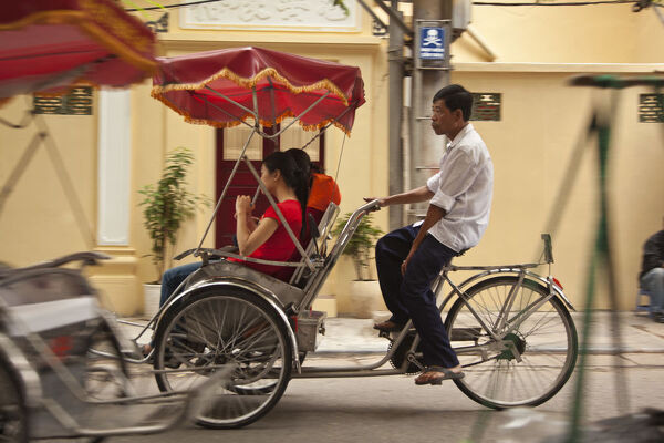 Cyclo ride, Old Quarter, Hanoi, Vietnam