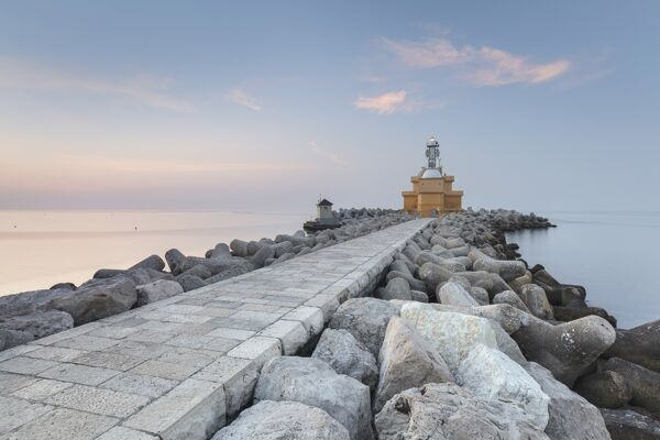 Europe, Italy, Veneto, Venice, Cavallino coast. Lighthouse of Punta Sabbioni in the morning