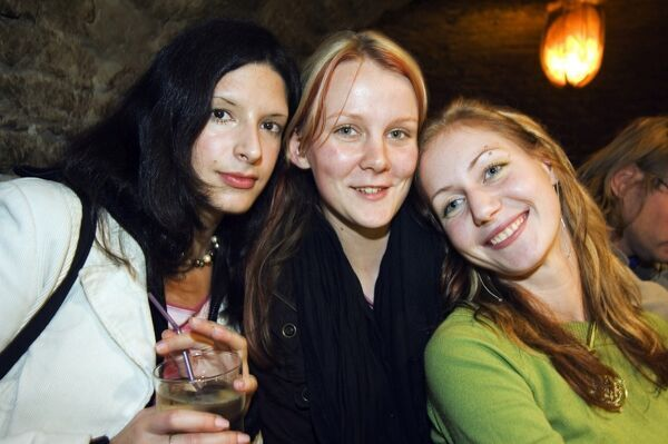Three Girls enjoying a night out in a local bar The Baltic States, Estonia, Tallinn Three Girls enjoying a night out in a local bar
