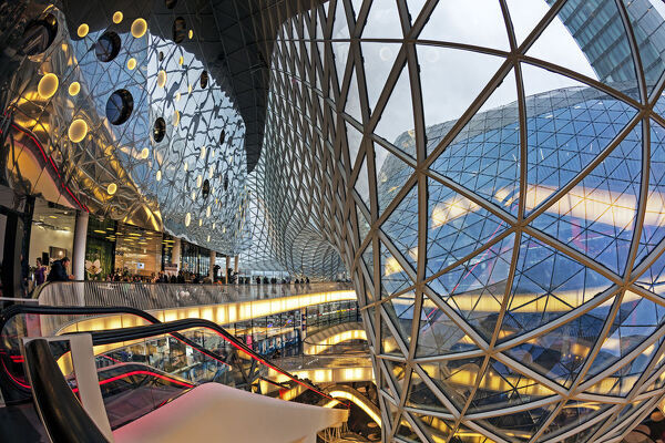Glass and escalator at the MyZeil shopping mall, Frankfurt, Hesse, Germany