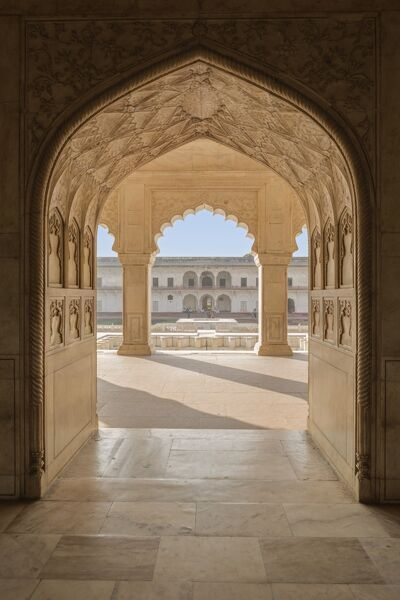 India, Uttar Pradesh, Agra, Agra Fort, view of the Anguri Bagh gardens from the interior of the Diwan-e-Khas (hall of private audiences), a building constructed by Shah Jahan in 1636