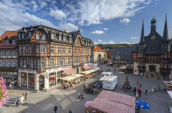 Marker Square and Guild Hall, Wernigerode, Harz Mountains, Saxony-Anhalt, Germany
