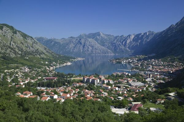 Montenegro, Kotor, Bay of Kotorska MONTENEGRO-Kotor: Bay of Kotor / Southern Europe's Deepest Fjord Town View from the Mountains / Daytime