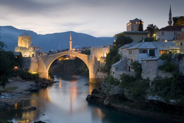 Mostar & old Bridge over the Neretva river, Bosnia and Herzegovina Mostar & old Bridge over the Neretva river, Bosnia and Herzegovina Eastern Europe, Balkans, Bosnia and Herzegovina, Herzegovina, Mostar, The famous 'Old Bridge' of Mosta