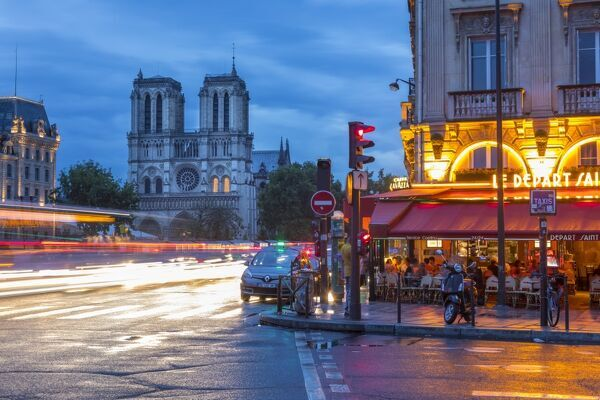 Place St. Michel & Notre Dame cathedral, Rive Gauche, Paris, France