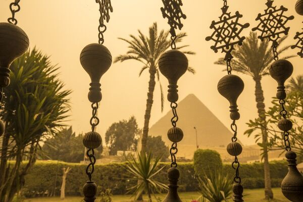 Pyramid viewed from the Mena House Hotel, Giza, Cairo, Egypt