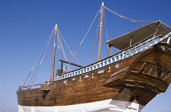 The restored dhow Fatah Al Khair is preserved at an outdoor museum in Sur. One of the last ocean-going passenger dhows, it is a ghanjah and is estimated to be around 300 tonnes and over 20 metres long
