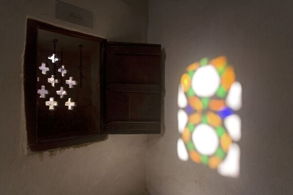 Stained glass windows, Dar Al Hajar (the Rock Palace), Wadi Dhar, Yemen Stained glass colorful windows inside Dar Hal Hajjar (the Rock Palace), Wadi Dhar - Yemen