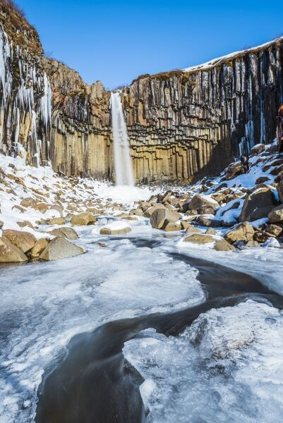Svartifoss waterfall in winter, Skaftafell national park, East Iceland, Iceland