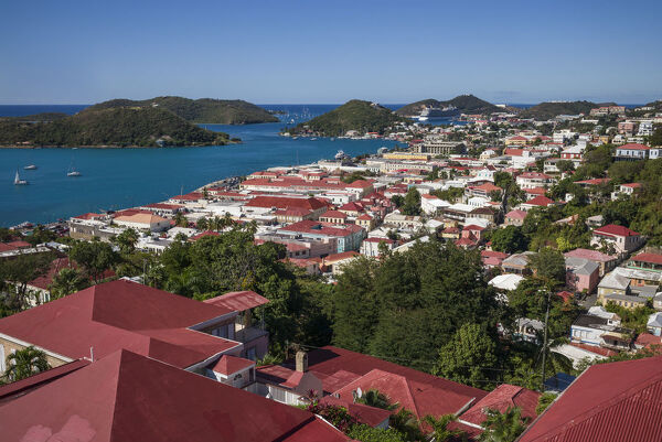 U.S. Virgin Islands, St. Thomas, Charlotte Amalie, elevated town view