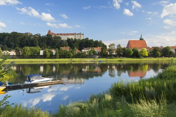 View of River Elbe and Pirna, Saxony, Germany