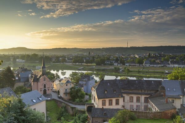 View of River Moselle and skyline at dawn, Trier, Rhineland-Palatinate, Germany