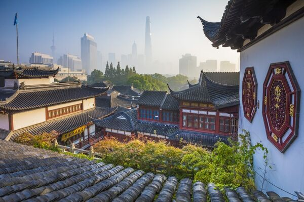 Yu Yuan Gardens and Pudong skyline behind, Shanghai, China