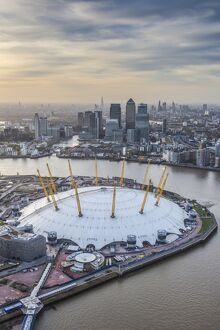 Aerial view from helicopter, Canary Wharf & O2 Arena, London, England