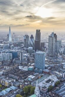 Aerial view from helicopter, City of London, and the Shard, London, England