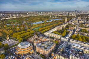Aerial view from helicopter,Royal Albert Hall & Hyde Park, London, England