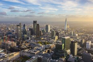 Aerial view from helicopter, The Shard & City of London, London, England