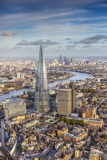 Aerial view from helicopter, The Shard, London, England