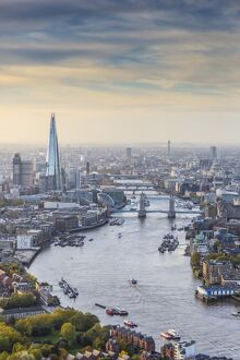 Aerial view from helicopter, The Shard, River Thames and the City of London, London