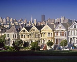 Alamo Square & City Skyline, San Francisco, California USA