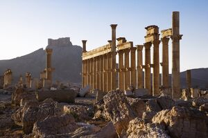 An Arab fortress stands over the spectacular ruined city of Palmyra