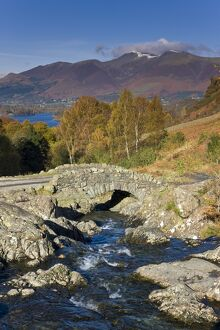 Ashness Bridge & Skiddaw mountain range, Lake District, Cumbria, England