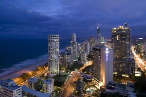 Australia, Queensland, Gold Coast, Surfer's Paradise, Evening view of Surfer's Paradise Highrises