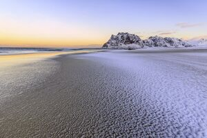Beach of Uttakleiv. Lofoten Islands Norway Europe