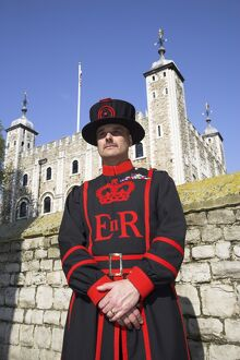 A beafeeter in traditional dress outside the Tower of London