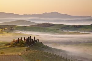 Belvedere farm at sunsise, Orcia valley,Tuscany,Italy