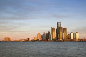City Skyline along Detroit River, Detroit, Michigan, USA