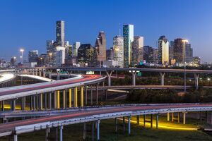 City skyline and Interstate, Houston, Texas, USA
