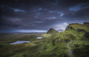 A cloudy night in Quiraing, Scotland, United Kingdom