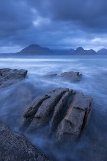 The Cuillin mountains from the shores of Elgol, Isle of Skye, Scotland. Winter (November)