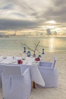 Dining on the beach, Anantara Dhigu resort, South Male Atoll, Maldives