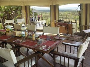 The dining tent of Ol Seki tented camp in Masai Mara Game Reserve