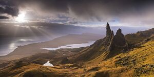 Dramatic light on the Old Man of Storr, Isle of Skye, Scotland. Autumn (November)