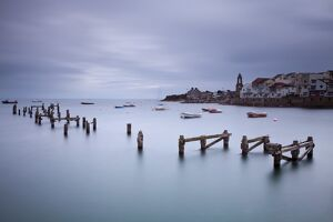 England, Dorset, Swanage. The timber remains of the Old Pier at Swanage
