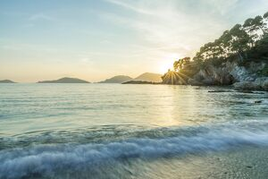 europe, Italy, Liguria. Fiascherino bay at sunset