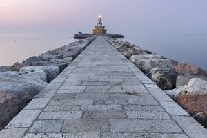 Europe, Italy, Veneto, Venice, Cavallino coast. Lighthouse of Punta Sabbioni at dawn
