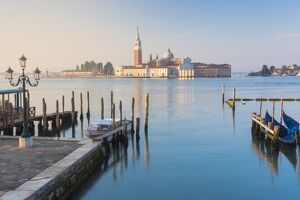 Europe, Italy, Veneto, Venice. Classic view of St. George major island at sunrise