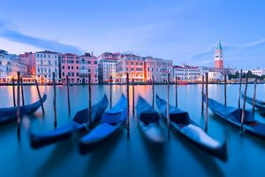 Europe, Italy,Veneto,Venice. Gondolas at dusk