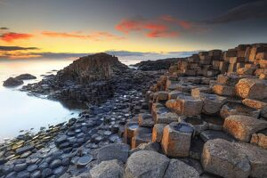 Europe, Northern Ireland, Giant's Causeway at sunset